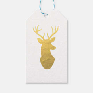 Gold foil reindeer gift tags pack of gift tags