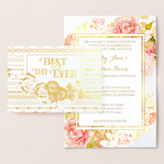 Gold Foil Rose Aztec Typography Wedding Invitation