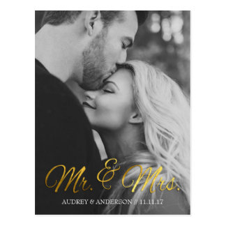 Gold Foil Save the Date Postcard