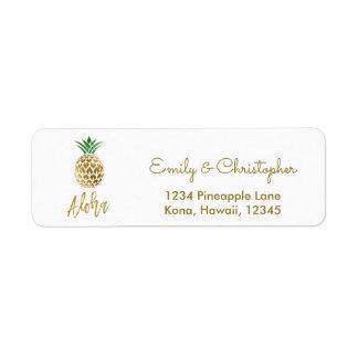 Gold Foil Script Wedding Aloha Pineapple