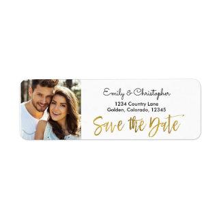 Gold Foil Script Wedding Save the Date Photo