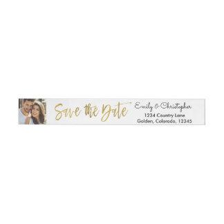Gold Foil Script Wedding Save the Date Photo Wraparound Address Label