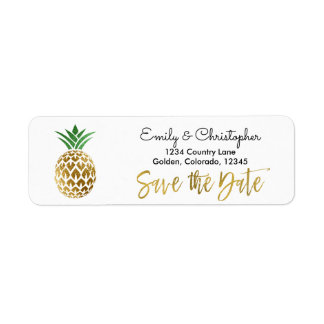 Gold Foil Script Wedding Save the Date Pineapple