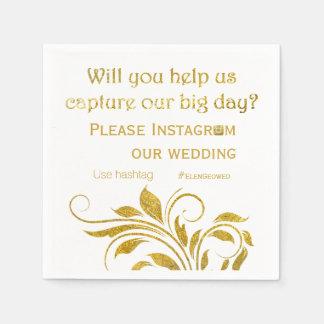 Gold foil scroll leaf hashtag floral wedding paper napkins
