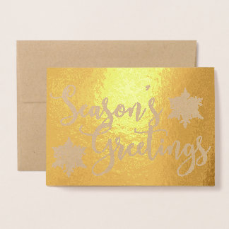 Gold Foil Seasons Greetings Snowflake Photo Card