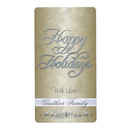 Gold Foil Silver Scroll Happy Holidays Wine Shipping Label