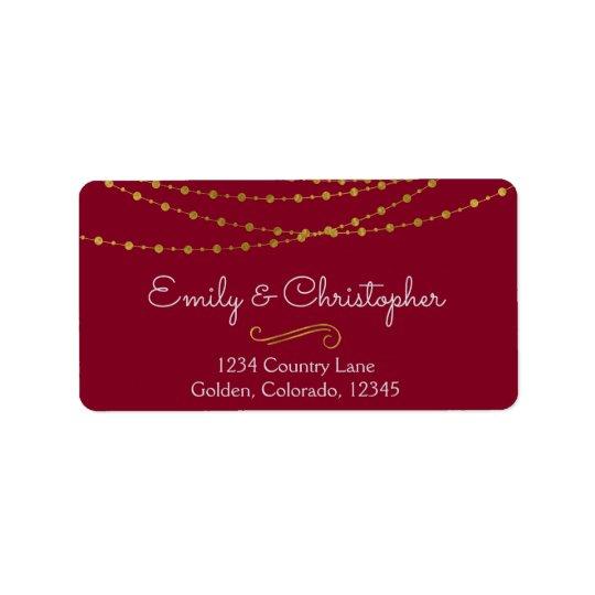 Gold Foil String Lights and Script Wedding Label