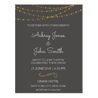 Gold Foil String Lights and Script Wedding Postcard