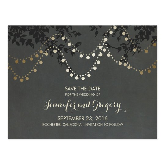 Gold Foil String Lights Save the Date Postcard
