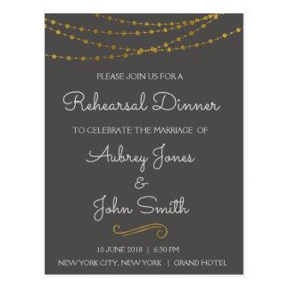 Gold Foil String Lights & Script Rehearsal Dinner Postcard