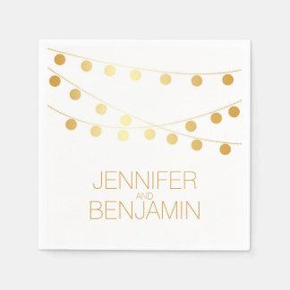 gold foil string lights wedding paper napkin