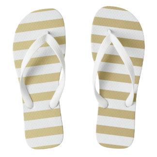 Gold Foil Stripe Women's Flip Flops