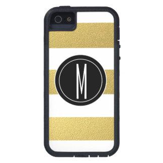 GOLD FOIL STRIPES | BLACK MONOGRAM iPhone 5 COVERS