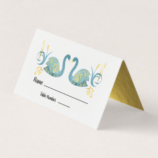 Gold Foil swans table cards