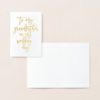 """Gold Foil To My Grandfather My Wedding day"""" Card"""