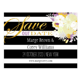 Gold Foil Typography Floral Wedding Save the Date Postcard