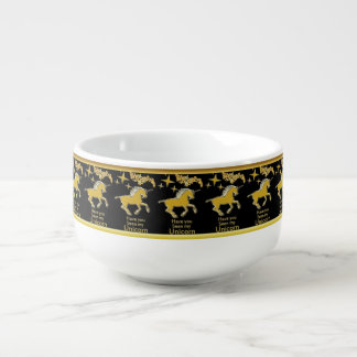 Gold foil unicorn pony with Golden stars and black Soup Mug