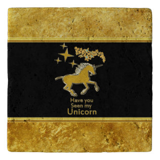 Gold foil unicorn pony with Golden stars and black Trivet