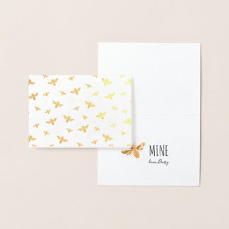 "Gold Foil Valentine's Card | ""Bee"" Mine"