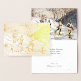 Gold Foil Vintage Christmas Snowshoeing & Greeting Foil Card