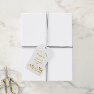 Gold foil vintage floral white wedding Thank You Pack Of Gift Tags