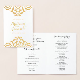 Gold Foil Vintage Glamour Elegance Wedding Program Foil Card
