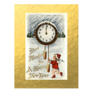 Gold Foil Vintage Happy New Year Greetings Postcard