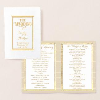 Gold Foil Vintage Hummingbird WEDDING PROGRAM Foil Card