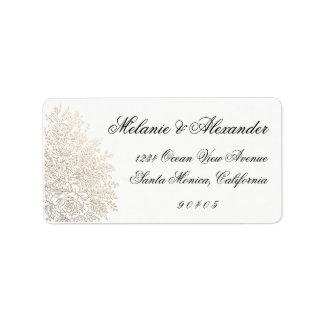 Gold Foil Vintage Lace Address Labels, Stickers