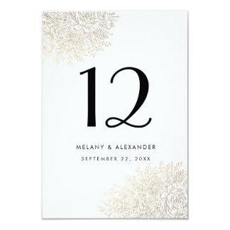 Gold Foil Vintage Lace Elegant Table Number Card