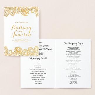 Gold Foil Vintage Lace Elegant Wedding Program Foil Card