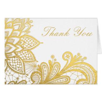 Gold Foil Vintage Lace | Thank You Card