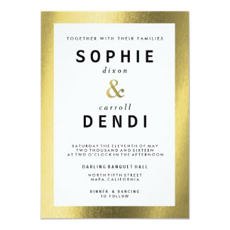 Gold Foil Wedding Announcement Invitation