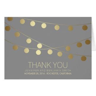 Gold Foil Wedding Lights Thank You Card