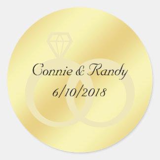 Gold Foil Wedding Monogram Sticker Wedding Rings