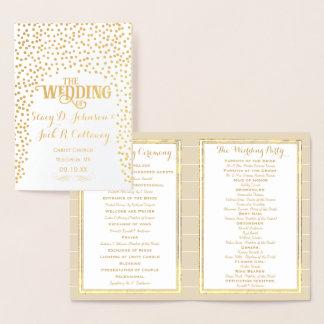 Gold Foil WEDDING PROGRAM Confetti Typography Foil Card