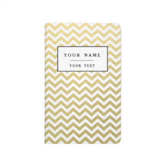 Gold Foil White Chevron Pattern Journal