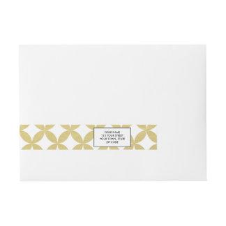 Gold Foil White Diamond Circle Pattern Wraparound Address Label