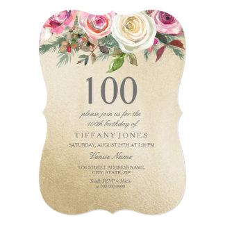 Gold Foil White Pink Rose 100th Birthday Invite