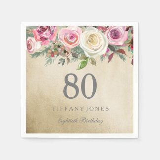 Gold Foil White Pink Rose 80th Birthday Disposable Napkins