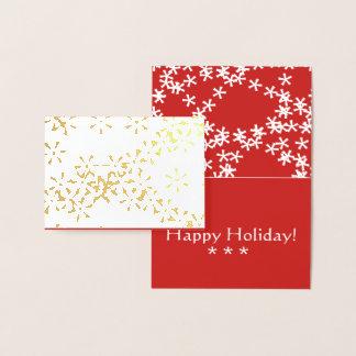 Gold Foil Winter Snowfall holiday greeting card