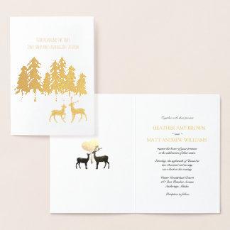 Gold Foil Woodland Forest Pine Reindeer Wedding Foil Card