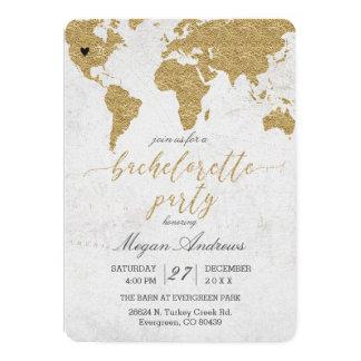 Gold Foil World Map Bachelorette Party Invitation