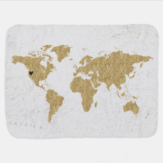 Gold Foil World Map Custom Moveable Heart Location Baby Blanket