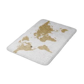 Gold Foil World Map Custom Moveable Heart Location Bath Mat