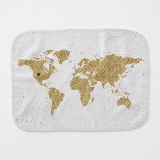 Gold Foil World Map Custom Moveable Heart Location Burp Cloth