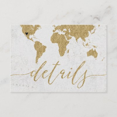 Gold foil world map destination wedding invitation zazzle gumiabroncs Choice Image