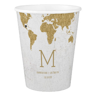 Gold Foil World Map Destination Wedding Monogram Paper Cup
