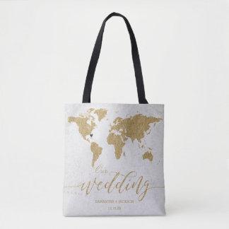 Gold Foil World Map Destination Wedding Monogram Tote Bag