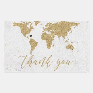 Gold Foil World Map Destination Wedding Thank You Sticker